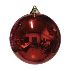stor julekugle i plastik diameter 25 centimeter blank rød overflade