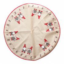 hessian juletræstæppe med print af nisser og julepynt diameter 1 meter