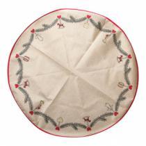 hessian juletræstæppe med print af granranke og  julepynt diameter 1 meter