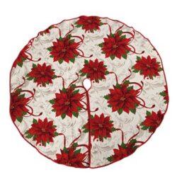 vævet stof juletræstæppe med røde julestjerner diameter 132 centimeter