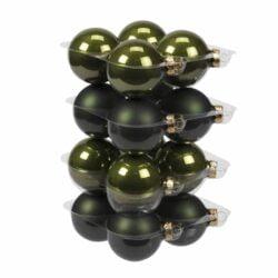 Julekugler glas GRØN mørke, mat + blank  Ø57 mm, 16 stk til juletræspynt