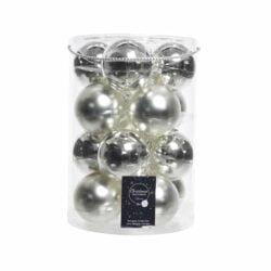 Julekugler glas SØLV mat + blank  Ø80 mm, 16 stk til juletræ