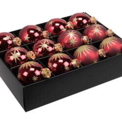 12 styk mørkerøde glas julekugler ø 75 mm med dekoration af guld glitter