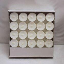 50 Stück weiße Teelichter in einem durchsichtigen Plastikbecher für den Alltag und die Party brennen 4 Stunden