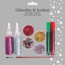 pakke med glitterlim og konfetti i flere farver