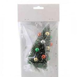 lille kunstig juletræ 10 centimeter pyntet med julekugler