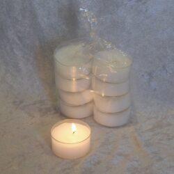 hvide store fyrfadslys i pakke med 8 styk