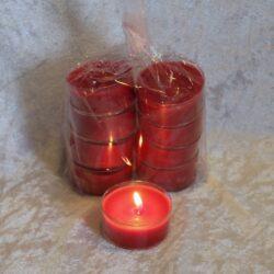 rote große Teelichter in einer Packung mit 8 Stück