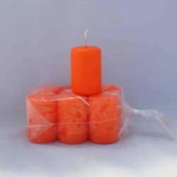 lille orange farvet stearinlys 4 x 6 centimeter i pose med 6 styk
