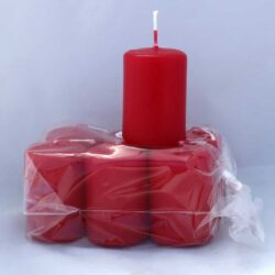 små røde rubinrøde stearinlys 4 x 6 centimeter i pose med 6 styk