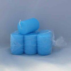 lille isblå stearinlys 4 x 6 centimeter i pose med 6 styk