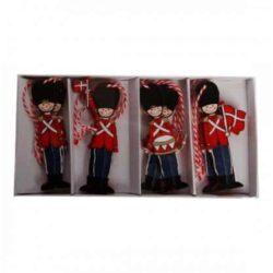 8 styk træ figurer som danske garder soldater med det danske flag i hånden