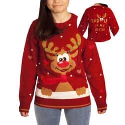 juletrøjer og julesweater til børn med rudolf str. 134 rød